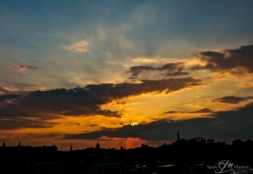 Beautiful sunset over Edinburgh city skyline scotland