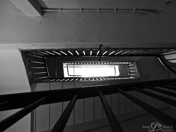 Staircase infinity black and white photography